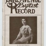 Lake Avenue Baptist Record Newsletter cover with picture of Mrs. H. B. Montgomery