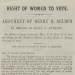 Right of Women To Vote: Argument of Henry R. Selden Booklet page